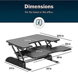 VariDesk Pro Plus 30 by Vari - Height-Adjustable Standing Desk - Stand Up Desk Converter - (Black)