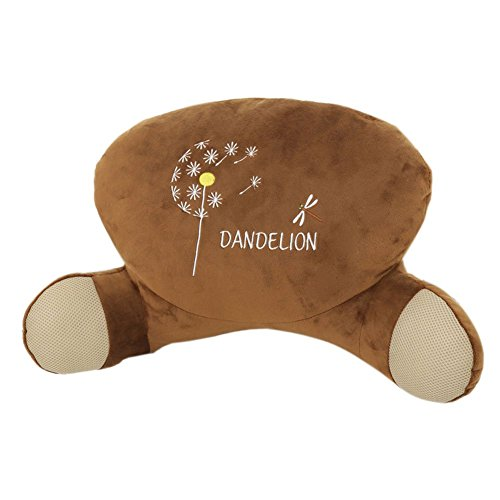 Plush Dandelion Kids Bedrest Pillow Brown Best Bed Rest Pillows with Arms for Reading in Bed