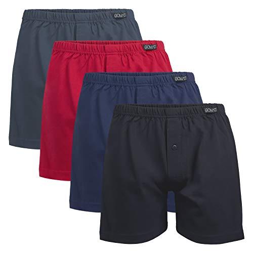 Gomati Herren Jersey Boxershorts (4 Stück) Stretch Unterhose aus Baumwolle - Schwarz-Navy-Anthra-Rot XL