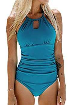 CUPSHE Women s One Piece Swimsuit High Neck Tummy Control Swimwear Bathing Suit Turquoise M