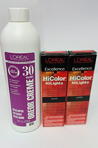 L'Oreal Hicolor HiLights for Dark Hair Only Copper Red 2-Pack with 16 oz. Oreor Crème 30 Developer - COMBO DEAL