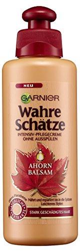 Garnier Wahre Schätze Ahorn Balsam & Rizinusöl, Intensiv-Pflegecreme, reparierend und nährend, für stark geschädigtes Haar, 6er-Pack (6 x 200 ml)