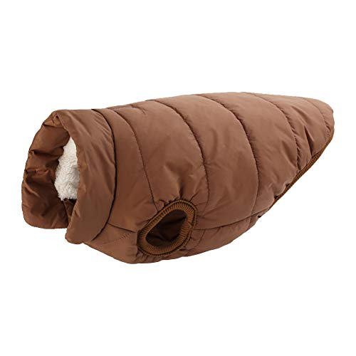 MISSMAO Hundemantel Fleece Futter Jacke Reflektierende Hundejacke Warm Hundemantel Climate Jacke Einfaches An- und Ausziehen Kaffee M