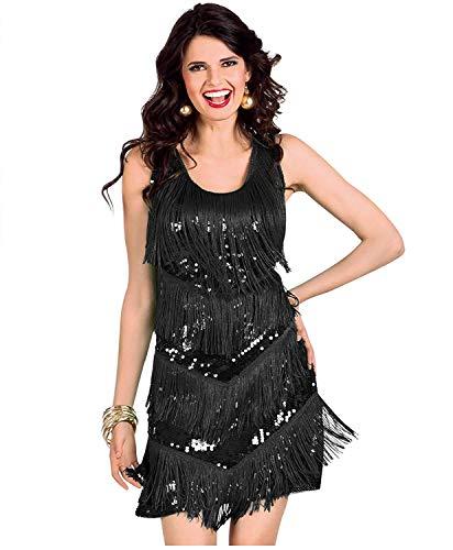 keland Damen-Cocktailkleid mit Fransen und Riemen fügt die Kleidung in EIN ärmelloses Kleid mit knielangem Stirnband EIN (schwarz -002, M)