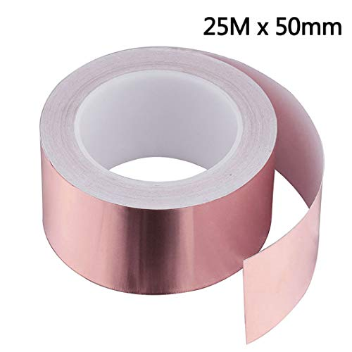 Dioxide Kupferband 50mmX25M EMI Kapton Tape Klebeband Selbstklebend Abschirmend Gegen Schnecken Kupferfolie Schneckenschutz Copper Foil Tape