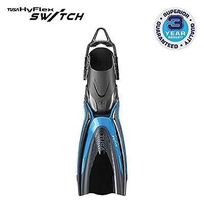 TUSA SF-0104 Hyflex Switch Scuba Diving Fins, Large, Fishtail Blue