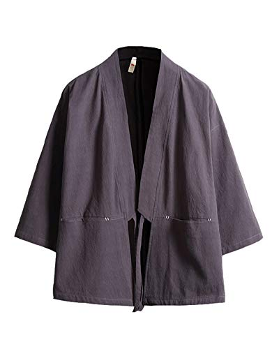 Tradicional Japonés Kimono Cárdigan Haori Cloak Abrigo Capa - Cuello de Chal Manga 3/4 - para Hombre