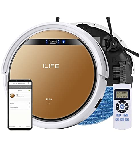 ILIFE V5s Pro with App, WiFi, Smart 2-in-1 Robotic Vacuum Cleaner and Water Mopping,Alexa & Google Home Enabled, Slim, Automatic Self-Charging, Home, Schedule, Cliff Detection (V5x)