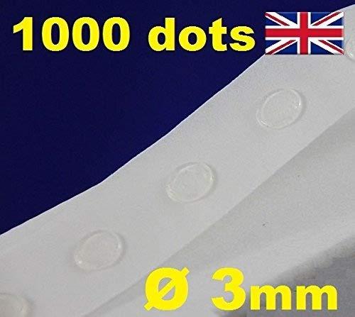 Klebepunkte, selbstklebend, transparent, 3 mm, leicht anzubringen, 1000 Stück
