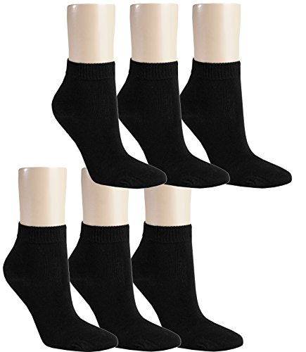 Vitasox 15268 Damen Kurzsocken Baumwolle Sneakersocken uni Damensocken ohne Naht schwarz 6er Pack 39/42
