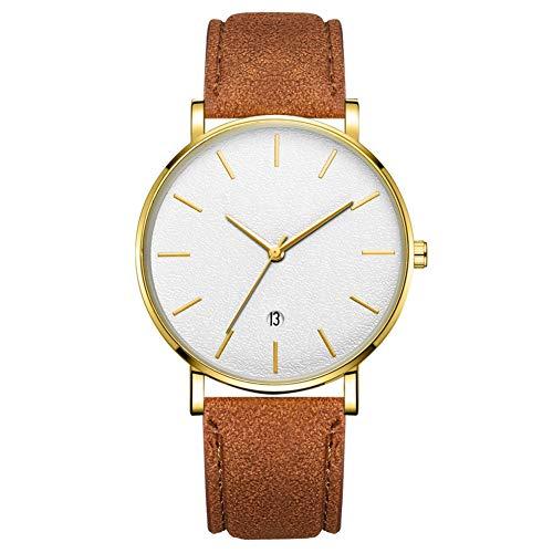GJHBFUK Mire El Reloj De Pulsera De Cuarzo Análogo De Marcación Redonda De Moda (Caja De Oro Cinturón De Oro con Aguja De Oro Espejo Blanco)