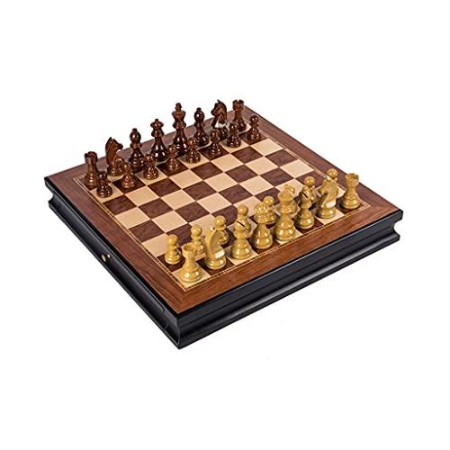 MASHUANG Clásico Juego de ajedrez estándar con cajones, Tablero de ajedrez de Madera Piezas de ajedrez ponderada, Juego de Mesa Intelectual, Concurso dedicado, 45 x 45 cm Tradicional