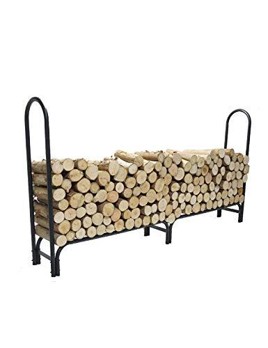 Buy 8 FT Firewood Rack Log Holder for Fireplace Patio Outdoor Backyard, Heavy Duty Log Rack, Wrought...