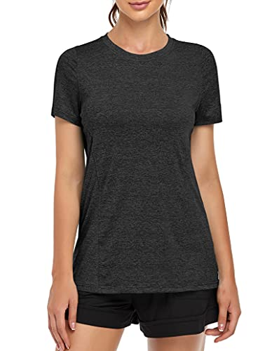 MOLERANI, Camisetas de Yoga para Mujer, Gimnasio Informal para Correr, Entrenamiento Relajado, Camiseta de Manga Corta, Ropa Deportiva, Camisetas Deportivas para Gimnasio(L,Negro