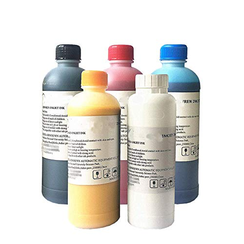 Textile Ink for DTG T Shirt Printer CMYKW 2500ml + 500ml Pretreatment Liquid