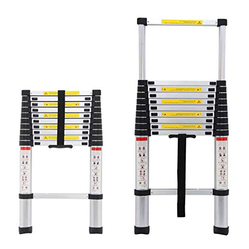 Aluminum Telescoping Ladder 10.5FT Multi Purpose Extension Steps 11-Step Adjustable Height Max Load 330LBS 5 Years Warranty