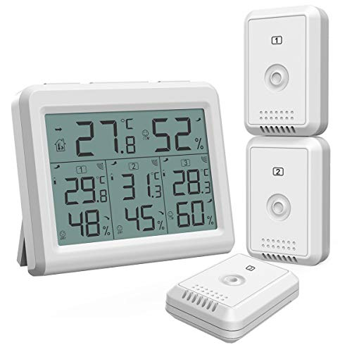 (New)AMIR Indoor Outdoor Thermometer, Temperature Humidity Monitor with 3 Wireless Sensors, Humidity Gauge with LCD Backlight, Room Thermometer Hygrometer for Home, Office, Baby Room