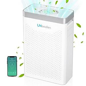 UNbeaten Purificatore d'aria con filtro HEPA H13, per appartamenti fino a 70 m², filtro dell'aria con potenza di filtraggio al 99,97%, contro fumo e polline
