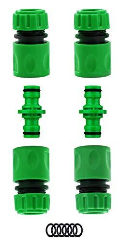 """Preisvergleich Produktbild CaLeQi 2 x männliche Schlauchverbinder & 4 x Schnellverbinder für Schlauch-Armatur 1 / 2"""" Kunststoff Wasserhahn-Anschluss (4 Schnellverbinder + 2 Doppelstecker)"""