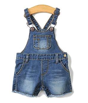 KIDSCOOL SPACE Baby Boy Girl Jean Shorts,Toddler Denim Cute Summer Shortalls,Blue,18-24 Months