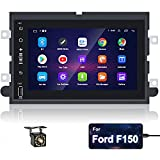 Hikity 9.0 Android Double Din Car Stereo for Ford F150 F250 F350 Edge Fusion Mustang, 7 Inch Touchscreen Radio with GPS Navigation Mirror Link SWC FM RDS + 12 LED Reverse Camera