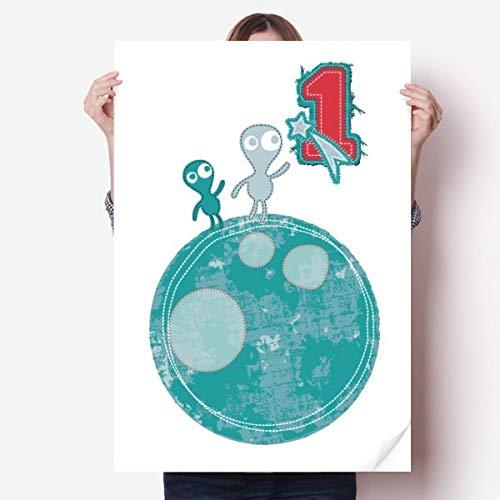 DIYthinker Univers et Alien Monster sur Terre Vinyle Autocollant de Mur Poster Mural Wallpaper Chambre Decal 80X55Cm 80cm x 55cm Multicolor