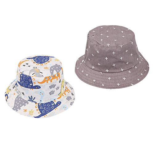 Achimlt Sun Hat Cute Cartoon Graffiti Double-Sided Reversible Portable Beach Summer Sailing Outdoor Wide Brim Fisherman Hat Cotton Foldable with Sun Protection Kids Toddler Cap for Boy and Girl (A3)