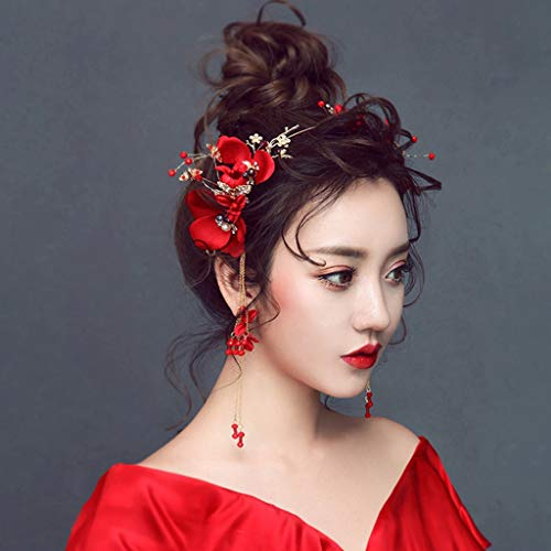 YWSZJ Coronas de Flores de Rosa roja Nupcial para Mujeres Cristal DE Cristal Tiaras y Pendientes Accesorios para el Cabello de la Boda del Vintage