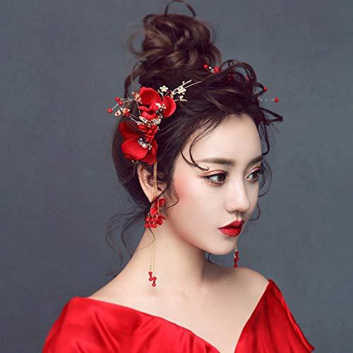 GZQDX Coronas de Flores de Rosa roja Nupcial para Mujeres Cristal DE Cristal Tiaras y Pendientes Accesorios para el Cabello de la Boda del Vintage
