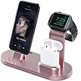 OLEBR Charging Stand for Original Cable Compatible with AirPods 2/1, iWatch Series 6/SE/5/4/3/2/1,iPhone/11/Xs/X Max/XR/X/8/8Plus/7/7 Plus /6S /6S Plus-Dark Rose Gold