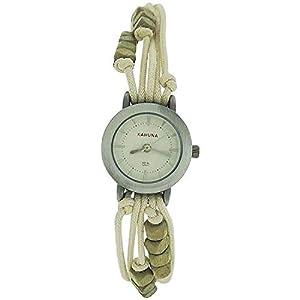 – Lot of 10Pcs- Kahuna Ladies Beige String Bead Bracelet Toggle Watch