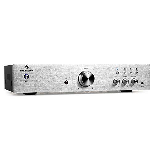 auna AV2-CD508, HiFi Audio-Verstärker, Stereo Endstufe, max. 600 Watt, 2-Band-Equalizer, 3 x Cinch-Eingang, 1 x Cinch-Ausgang, grausilber