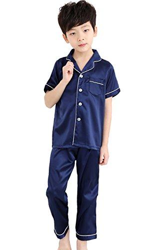 Horcute Kids Satin Short-Top and Long-Pants 2-Pieces Pajamas Sleepwears Set Navy 160# 9-10Y