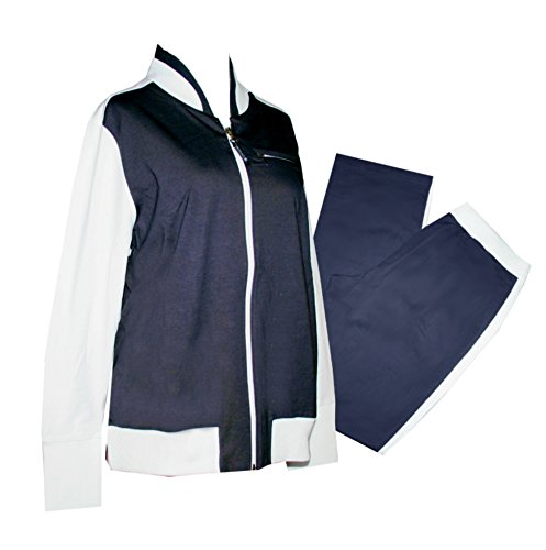 Schneider Sportswear Blanka Damen Anzug Trainingsanzug, Sport-Fitness Baumwolle (40, weiß/dunkelblau)