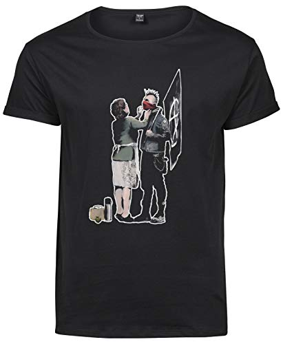 Premium Camiseta T-Shirt Roll-Up Hombre Banksy Anarchist& Mother - T-shirtLaMAGLIERIA