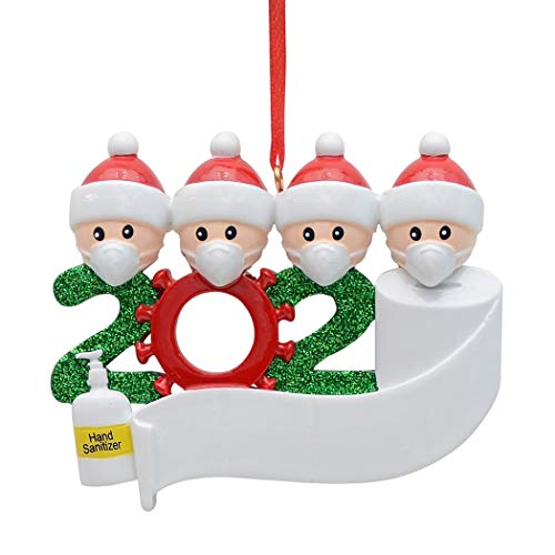 MAXORA 2020 Covid Quarantine Personalized Ornaments Survivor Family of 4 with Face Masks Hand Sanitized Christmas Ornament