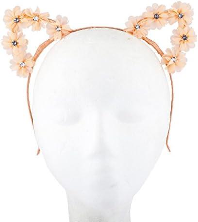 Cute Alloy Diamond Flower Cat Ears Headband Adult Headband Ornament Pretty PS1