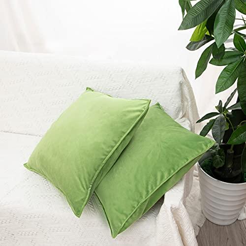 LDRHUY Federe per Cuscino Confezione da 2 Coperture Copricuscini Decorativi Fodere per Cuscino per Federe Cuscini Divano da Letto Casa (Verde Chiaro, 50x50cm)
