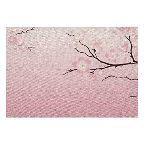 Juego de 4 manteles individuales de PVC con flores de cerezo, lavables, resistentes al calor, para la cocina y el comedor, 30,5 x 45,7 cm