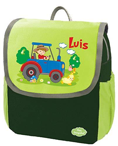 Mein Zwergenland Kindergartenrucksack Happy Knirps NEXT mit Name Traktor Bauernhof, 6L, Grün
