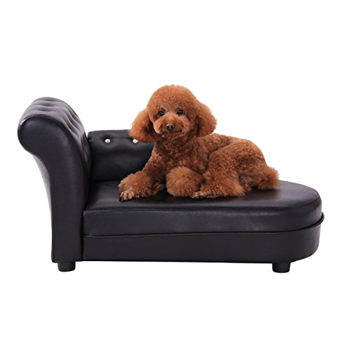 PawHut Dog Bed Pets Sofa Luxury Pets Couch Wooden Sponge PVC (Black)