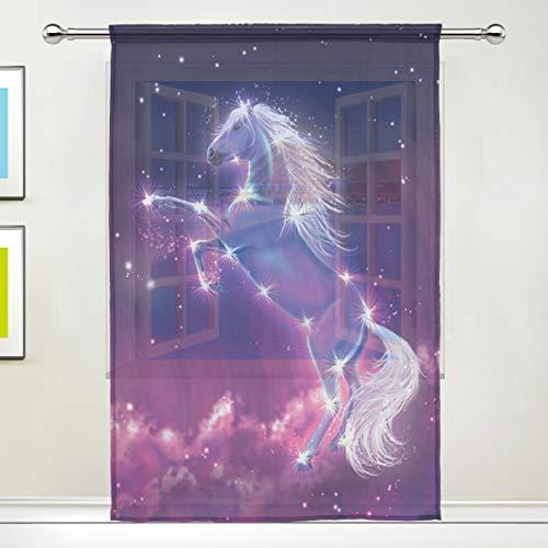 BIGJOKE Vorhang für Fenster, Pferd, Galaxy, Vorhänge, Küche, Wohnzimmer, Dekoration, Schlafzimmer, Büro, Voile, 1 Stück, multi, 55x78 inches