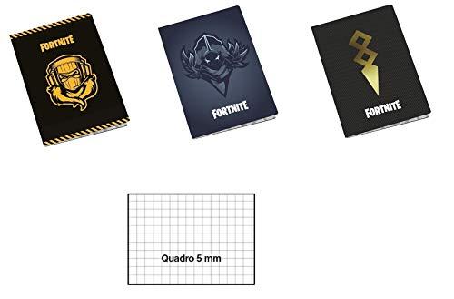Set 6 Quadernoni Compatibile con Fortnite 5mm Quadretti Senza Margine 100gr +30 Fogli Elementare Medie Superiori Formato A4