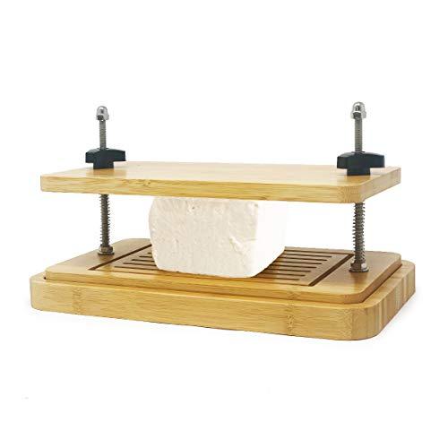 joeji\'s Kitchen Bambus Tofu Press | Mit Unterboden & Oberboden Tofu Presse | Premium Wood Simple Drip Tofu Maker