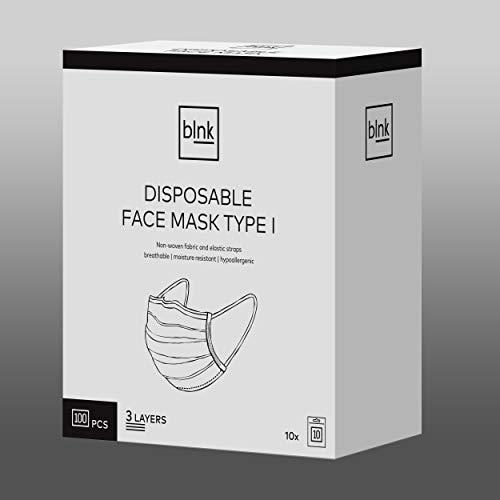 blnk MUND-NASEN-SCHUTZ TYP I (Box mit 2x 50 = 100 Stück), Halbmaske mit Nasensteg, Typ I nach EN 14683:2019, ≥95% Filterung von Bakterien, CE-Zertifikat