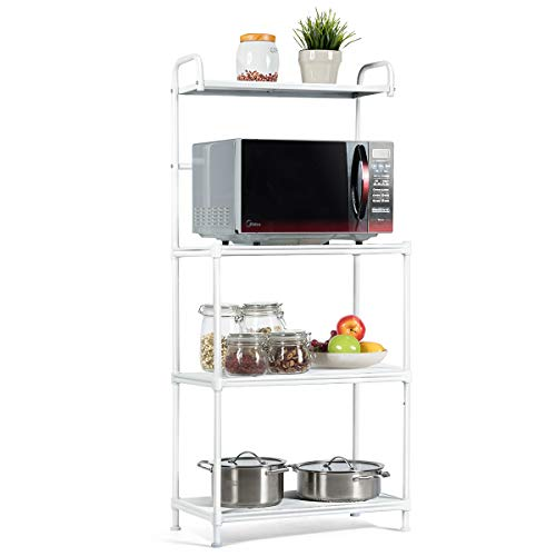 DlandHome Microwave Cart Stand, 35.4 inches Kitchen Utility Storage 3-Tierx4-Tier for Baker and Rack and Spice Rack Organizer Workstation Shelf, 172-M Maple, 1 Pack