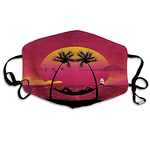 Comfortable Printed Mask, Girl Lying Down in A Hammock Caribbean Coast Relax Vacation Sunset,Windproof Facial Decorations for Man and Woman