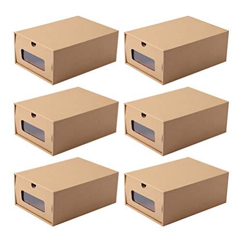 DOITOOL 6 cajas de zapatos de cajón de zapatos de papel cajas de almacenamiento de zapatos contenedor apilable organizador de zapatos para oficina, hogar dormitorio