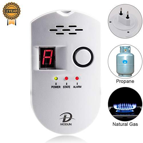 Gasmelder, LPG/Erdgas/Kohlengas Lecksucher, einsteckbarer Sensor Gasmonitor mit akustischem Alarm und LED Digitalanzeige, Methan Propan Butan Alarm für brennbare Gase in der Küche Krankenhausgarage