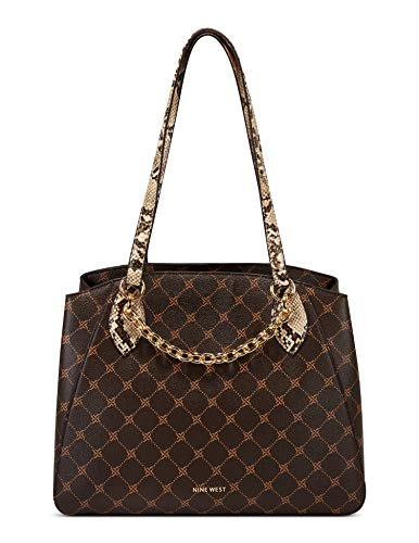 NINE WEST Women's Delilah Shoulder Bag, Dark Brown, Larg